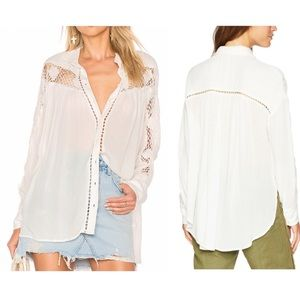 Free People White Katie Bird Button Down Blouse- L